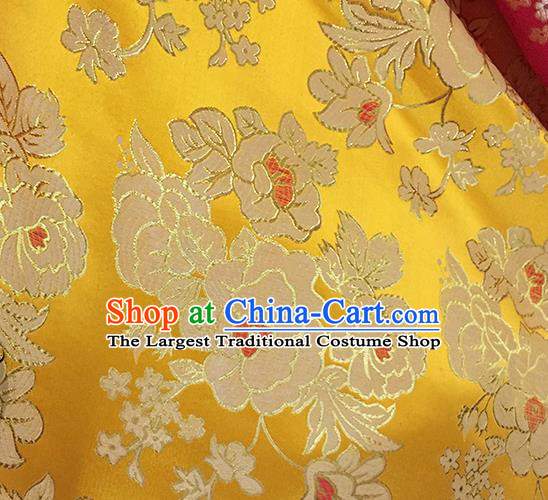 Chinese Traditional Yellow Brocade Classical Peony Pattern Design Silk Fabric Material Satin Drapery