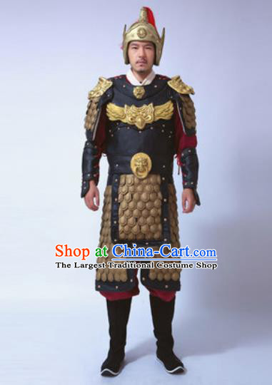 Traditional Chinese Ancient General Costumes Helmet and Body Armour for Men