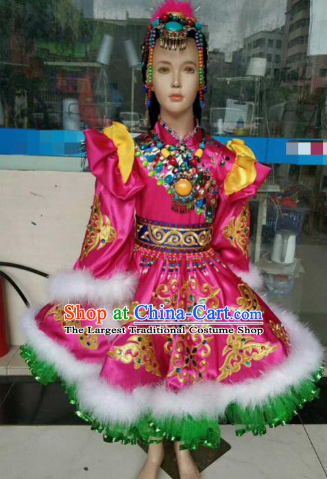 Chinese Traditional Mongol Nationality Rosy Costumes Mongolian Folk Dance Ethnic Dress for Kids