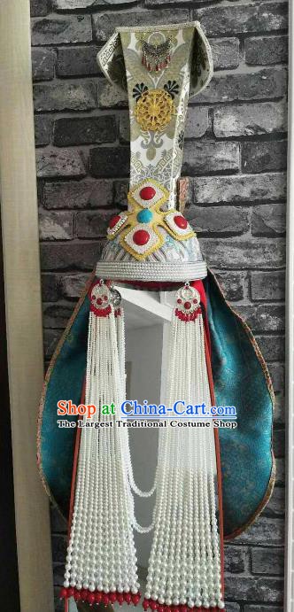Traditional Chinese Mongol Nationality Wedding Hat Mongolian Ethnic Folk Dance Hair Accessories for Women