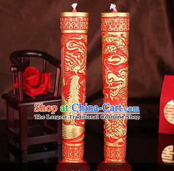 Chinese Traditional Wedding Supplies Red Candle Bride Saddle Dragon Phoenix Candles