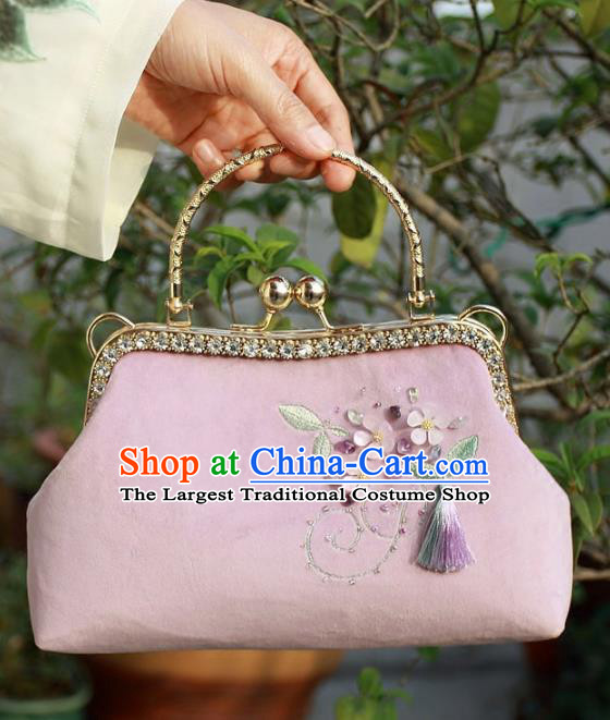 Chinese Traditional Handmade Embroidered Bags Retro Pink Handbag for Women