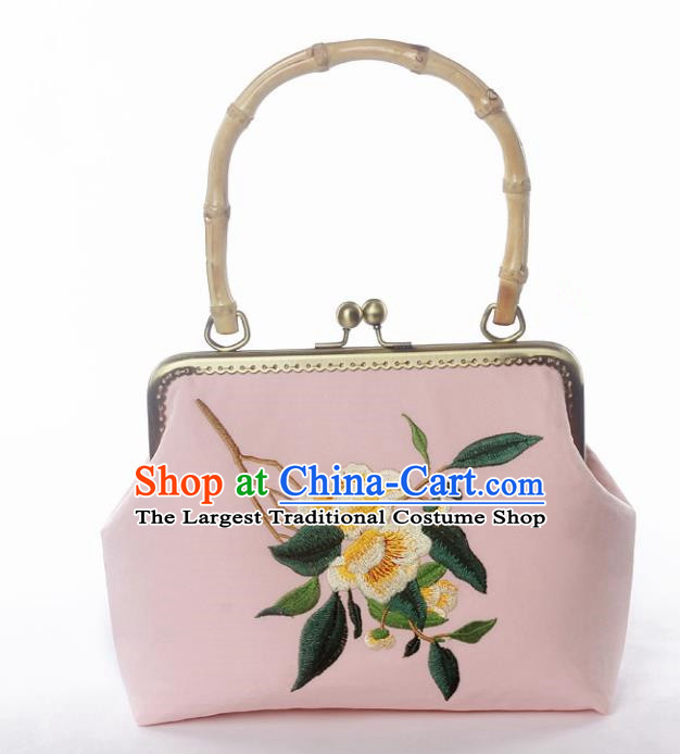 Chinese Traditional Handmade Embroidered Camellia Pink Bags Retro Handbag for Women