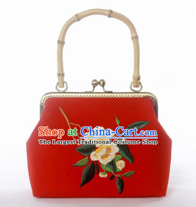 Chinese Traditional Handmade Embroidered Camellia Red Bags Retro Handbag for Women