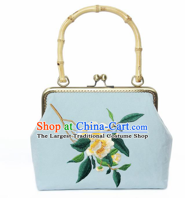 Chinese Traditional Handmade Embroidered Camellia Blue Bags Retro Handbag for Women
