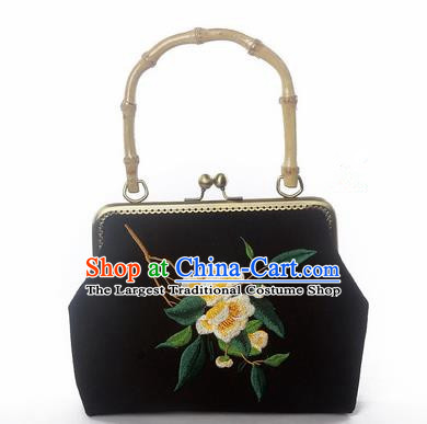Chinese Traditional Handmade Embroidered Camellia Black Bags Retro Handbag for Women