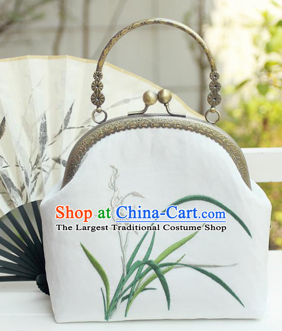 Chinese Traditional Handmade Embroidered Orchid White Bag Retro Handbag for Women