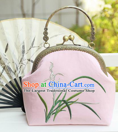 Chinese Traditional Handmade Embroidered Orchid Pink Bag Retro Handbag for Women