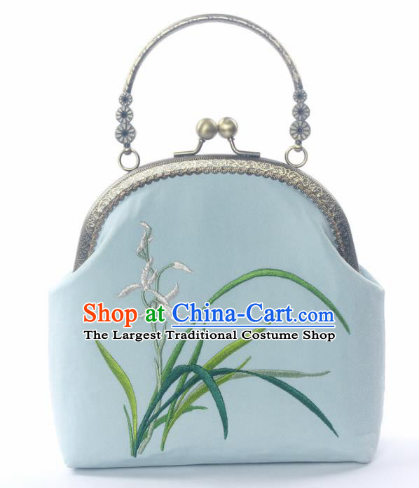 Chinese Traditional Handmade Embroidered Orchid Blue Bag Retro Handbag for Women