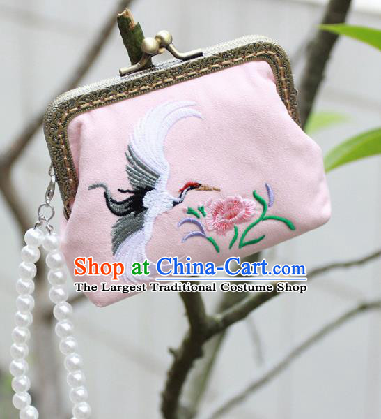 Chinese Traditional Handmade Embroidered Crane Flower Pink Wallet Retro Coin Purse Handbag for Women