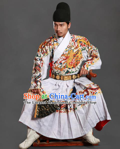 Chinese Traditional Ming Dynasty Imperial Bodyguard Clothing Ancient Blads Embroidered White Costumes for Men