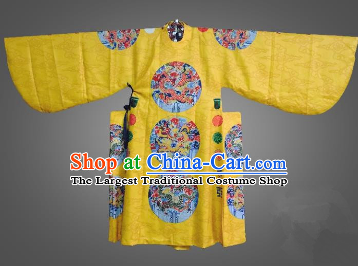 Chinese Traditional Ming Dynasty Emperor Clothing Ancient King Embroidered Yellow Costumes for Men