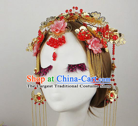 Chinese Traditional Xiuhe Suit Hair Accessories Wedding Bride Hairpins Hair Crown for Women