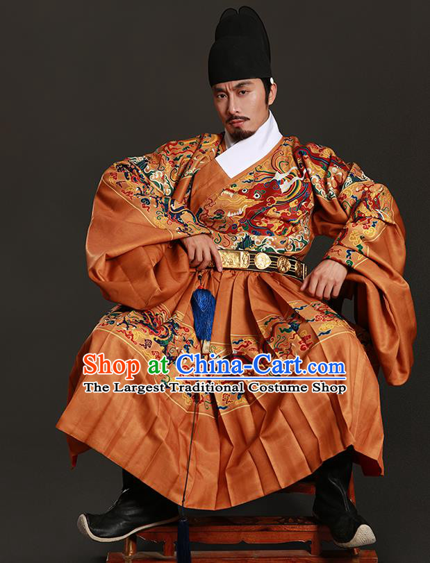 Chinese Traditional Ming Dynasty Blades Clothing Ancient Imperial Guards Embroidered Costumes for Men