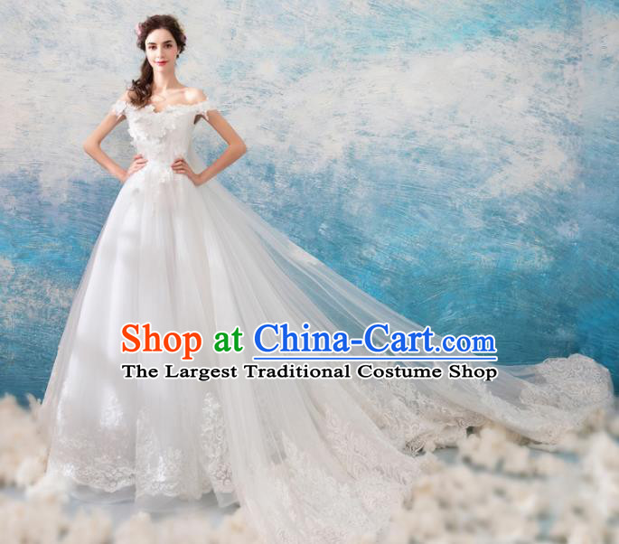 Top Grade Princess Trailing Wedding Dress Handmade Fancy White Wedding Gown for Women