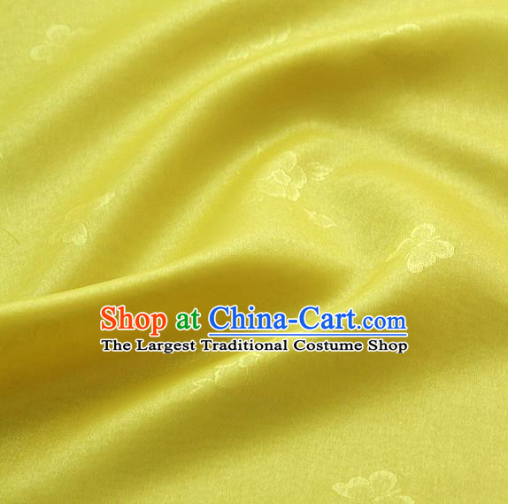 Asian Korean Traditional Lemon Yellow Tajung Fabric Classical Butterfly Pattern Silk Fabric Hanbok Thin Silk Material