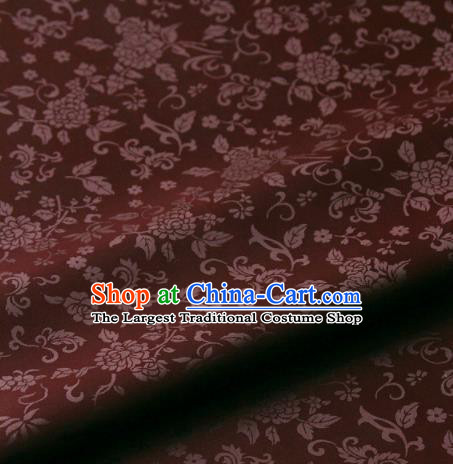 Asian Korean Ancient Costume Rust Red Brocade Traditional Palace Pattern Satin Fabric Silk Fabric Material