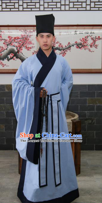 Chinese Traditional Ming Dynasty Scholar Historical Costumes Ancient Confucianist Hanfu Clothing for Men