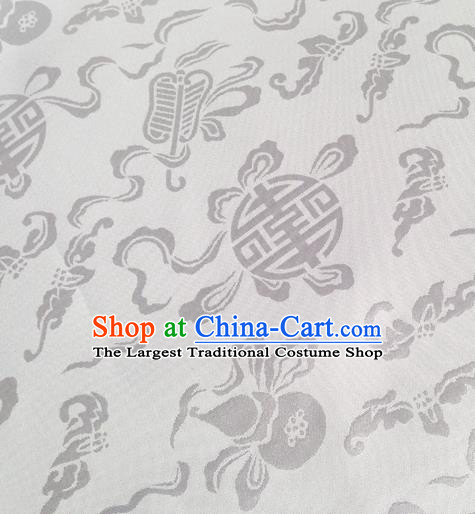 Chinese Traditional White Brocade Fabric Tang Suit Classical Calabash Pattern Design Silk Material Satin Drapery