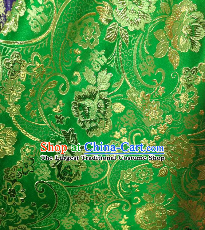 Chinese Traditional Green Brocade Fabric Tang Suit Classical Peony Flowers Pattern Design Silk Material Satin Drapery