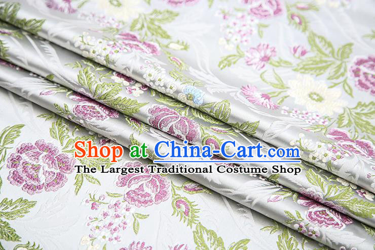 Chinese Traditional Bride Apparel Fabric White Brocade Classical Peony Pattern Design Material Satin Drapery