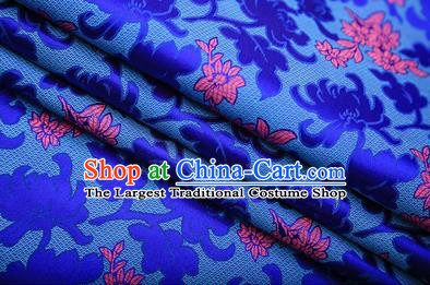 Chinese Traditional Apparel Royalblue Brocade Fabric Classical Peony Chrysanthemum Pattern Design Material Satin Drapery