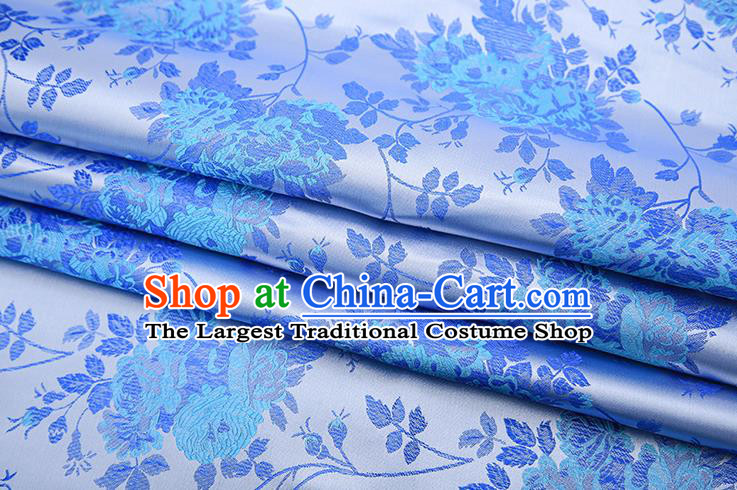 Chinese Traditional Blue Satin Brocade Fabric Qipao Dress Classical Roses Pattern Design Material Drapery