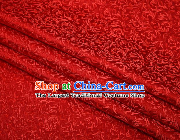 Top Grade Chinese Traditional Red Brocade Fabric Tang Suit Satin Material Classical Pattern Design Drapery