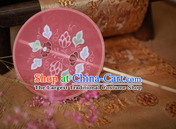 Chinese Ancient Handmade Palace Fans Traditional Hanfu Pink Silk Round Fans for Women
