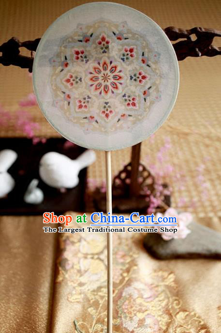 Chinese Ancient Handmade Palace Fans Traditional Hanfu White Embroidered Round Fans for Women