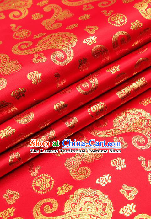 Chinese Traditional Satin Classical Fu Character Pattern Design Red Brocade Fabric Tang Suit Material Drapery