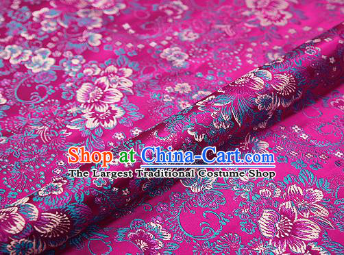 Rosy Brocade Chinese Traditional Garment Fabric Classical Peony Pattern Design Satin Cushion Material Drapery