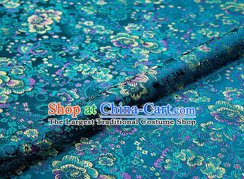 Peacock Green Brocade Chinese Traditional Garment Fabric Classical Peony Pattern Design Satin Cushion Material Drapery