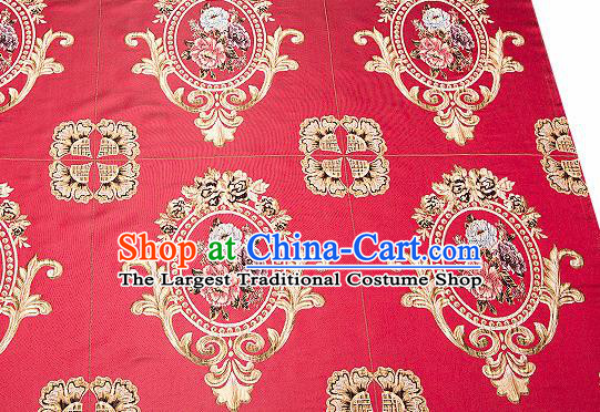 Top Grade Classical Flocked Peony Pattern Red Brocade Chinese Traditional Garment Fabric Cushion Satin Material Drapery