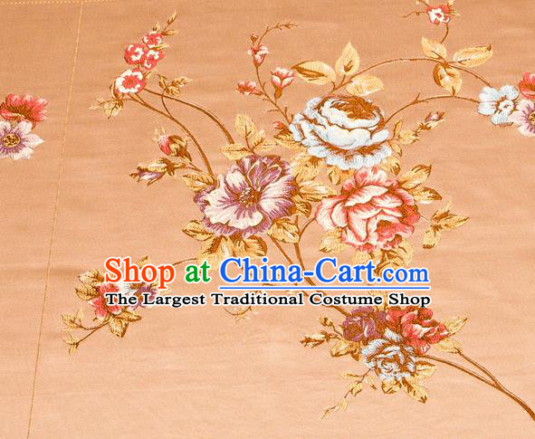 Top Grade Classical Embroidery Flowers Pattern Bronze Brocade Chinese Traditional Garment Fabric Cushion Satin Material Drapery