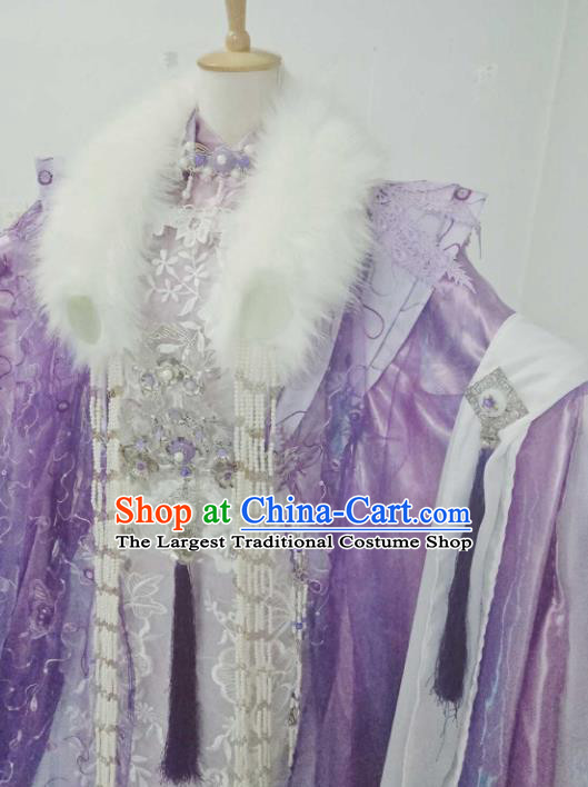 Chinese Ancient Cosplay Peri Purple Costumes Traditional Princess Embroidered Hanfu Dress for Women