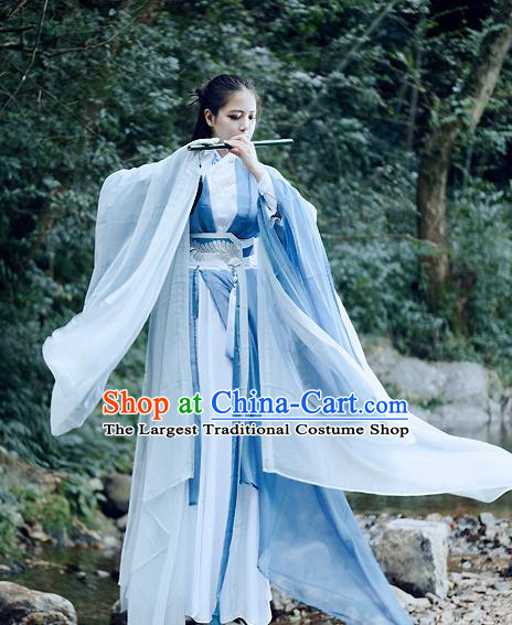Traditional Chinese Ancient Swordswoman Costumes Nobility Lady Hanfu Dress for Women