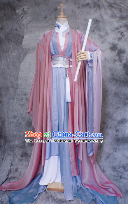 Chinese Ancient Swordswoman Costumes Traditional Jin Dynasty Nobility Lady Hanfu Dress for Women