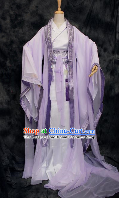 Chinese Ancient Swordsman Purple Costumes Traditional Cosplay Nobility Childe Hanfu Clothing for Men