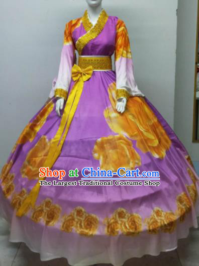 Top Grade Halloween Costumes Chinese Stage Performance Cosplay Purple Full Dress for Women