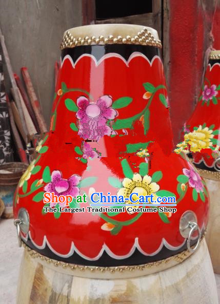Chinese Traditional Handmade Drums Folk Dance Printing Red Cowhide Drums
