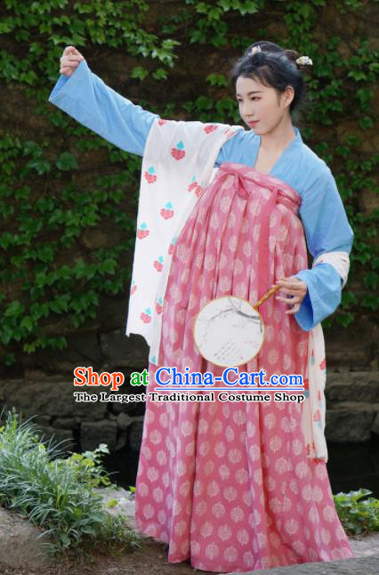 Traditional Chinese Tang Dynasty Rich Lady Hanfu Dress Ancient Palace Princess Costumes for Women