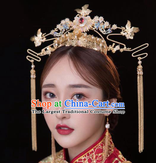 Chinese Traditional Xiuhe Suit Handmade Golden Phoenix Coronet Ancient Bride Hairpins Hair Accessories for Women