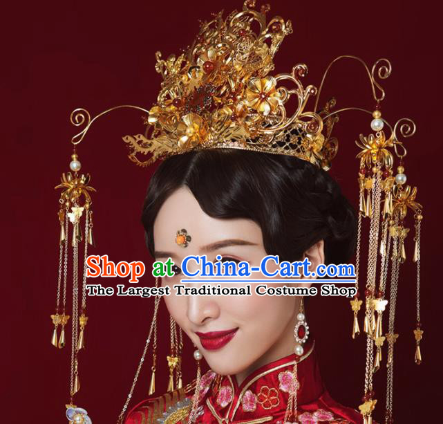 Chinese Traditional Xiuhe Suit Handmade Phoenix Coronet Ancient Bride Hair Accessories for Women