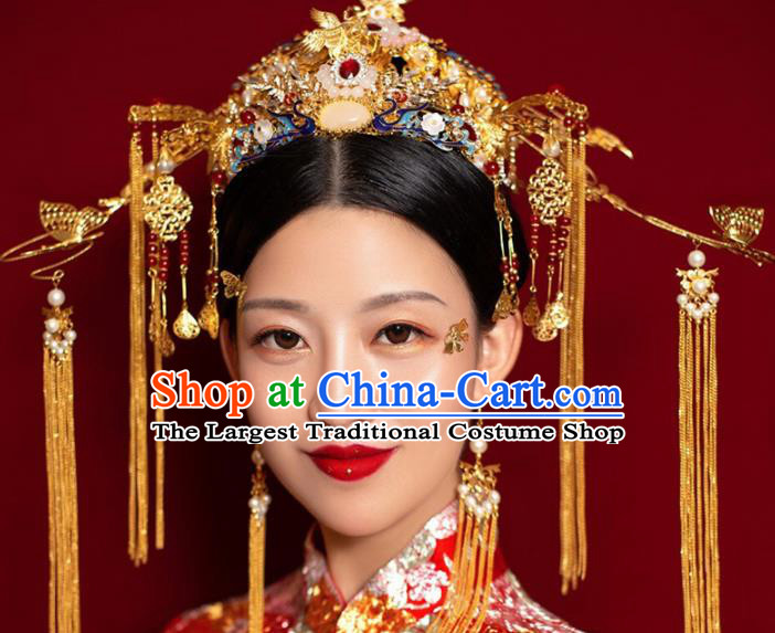 Chinese Traditional Queen Phoenix Coronet Hairpins Ancient Xiuhe Suit Bride Handmade Hair Accessories for Women