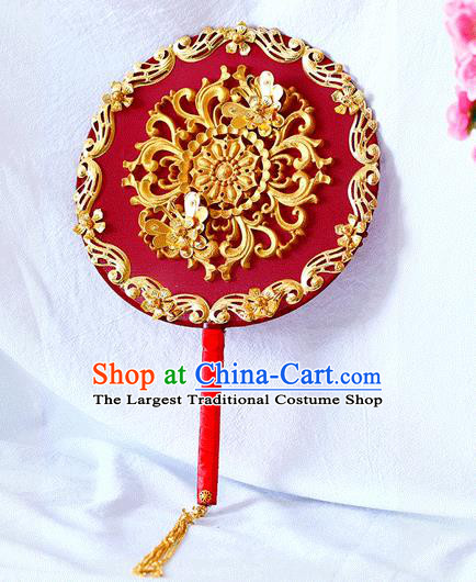 Chinese Traditional Wedding Round Fans Ancient Bride Handmade Red Palace Fans for Women