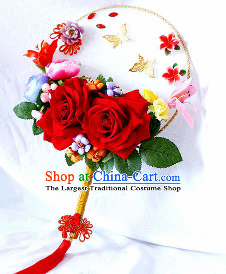 Chinese Traditional Wedding Round Fans Ancient Bride Handmade Red Roses Palace Fans for Women