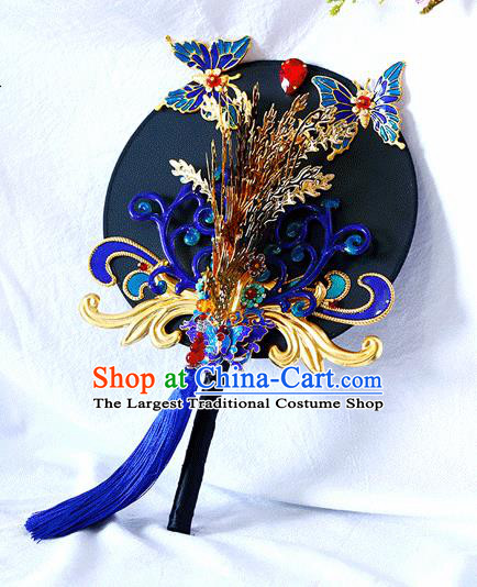 Chinese Traditional Wedding Round Fans Ancient Bride Handmade Cloisonne Butterfly Palace Fans for Women