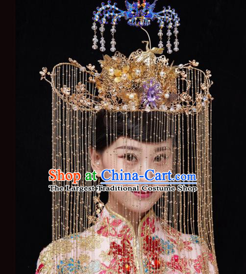 Chinese Traditional Xiuhe Suit Handmade Cloisonne Phoenix Coronet Ancient Bride Hairpins Hair Accessories for Women