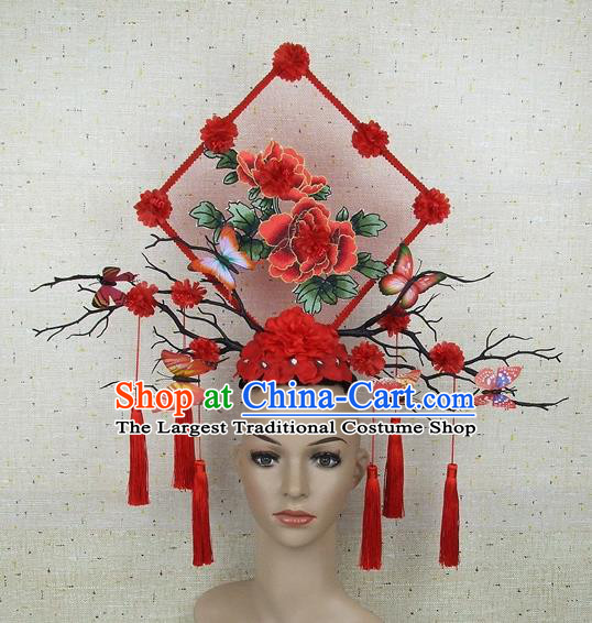 Top Grade Chinese Handmade Lace Headdress Traditional Red Peony Hair Accessories for Women